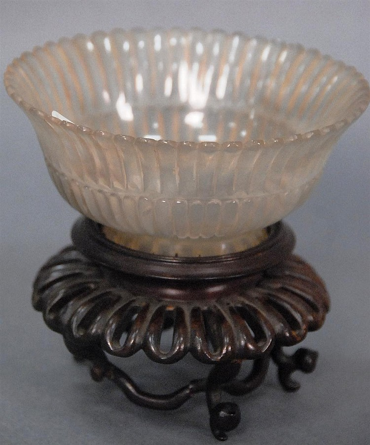 Clear glass bowl petal form on carved teak stand (as is), cup dia. 4 1/4in.
