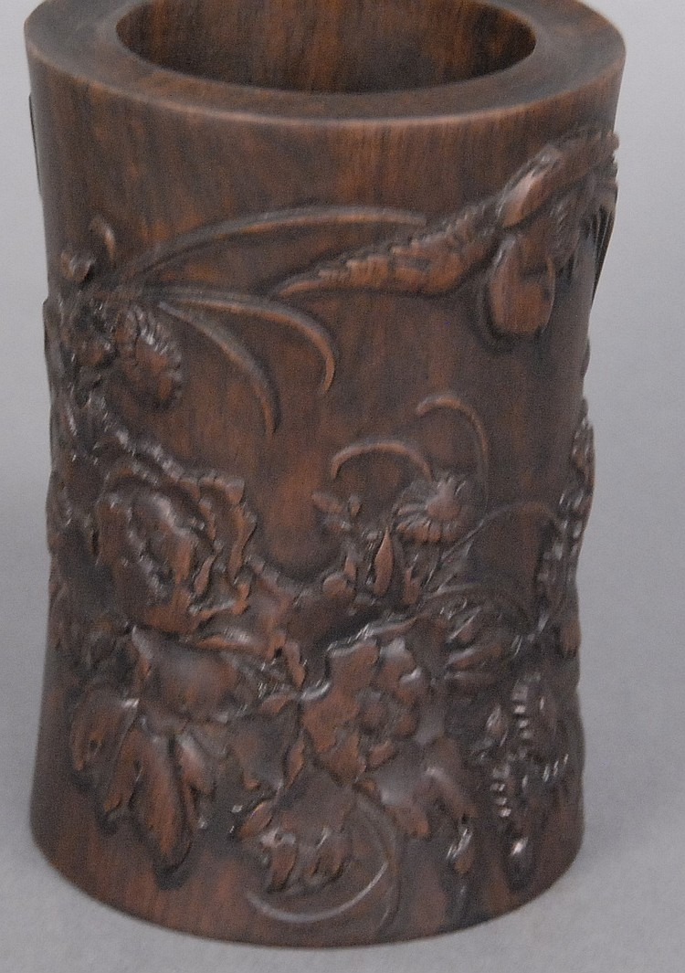 Carved hardwood brush pot with carved birds and flowers, ht. 6in.; dia. 4in.
