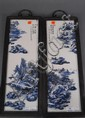 Pair of blue and white porcelain plaques with landscape scenes, 19 1/2