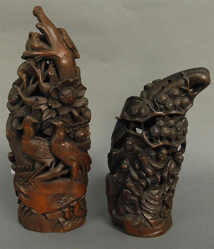 Two bamboo carvings; one of tree with birds ht. 18in. and the other of figures under a scrolling pine ht. 14in.