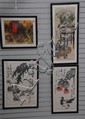 Group of four framed watercolors; three still life 31