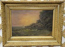 Oil on canvas sunset with crashing waves on rocky shore, unsigned, in Victorian gilt frame, 13