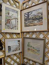 Five paintings including oil on board cocktail costume party signed lower right Lithgow, a watercolor Drydock by Grace Porta, waterc...
