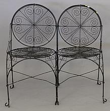 Wire two seat settee. wd. 36 in.