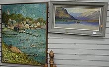 Two oil on board paintings including empty spring marina signed A. Bonine and fishing in a rowboat signed McGann.