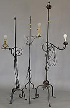 Three Vintage iron floor lamps, ht. 89, ht. 60 in., & ht. 60 in.