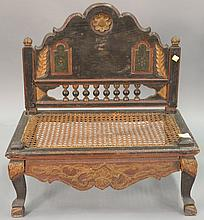 Diminutive cane seat bench. ht. 24 in.; wd. 23 in.