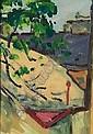 Abramovicz, Leon: Fensterblick. Oil on paper. Estate stamp. 1889 - 1978 34 x 23,5 cm, R. E850,-