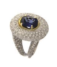 Amazing sapphire&diamonds cocktail ring