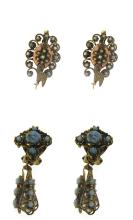 Two pair of late Victorian earrings