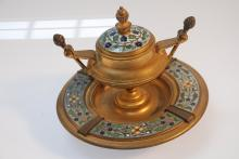 Antique French Gilt Bronze Champlevé Enamel Inkwell.
