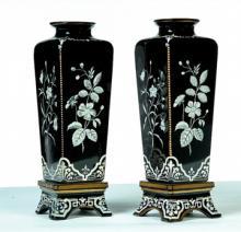 Pair of Antique porcelain enamel - 19th Century.