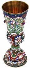 Silver Russian enamel Kiddush cup Mark 88
