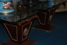 Glass Table with Two Pedestals