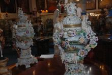 Pair of German Porcelain Urns, 36 Inches Hx18 Inches W