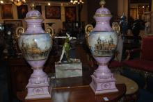 Pair of porcelain urns, 36 Inches Hx18 Inches W
