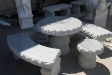 5-Piece Granite Table & Bench Set, Seats 6