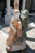 Marble Fountain w/Bucket, Boy & Girl, Multi-Color