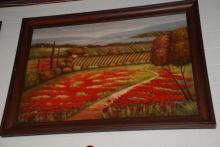 Oil Painting on Canvas of Floral Country Scene, Signed