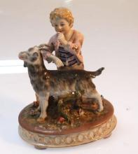 German Porcelain Cute Boy and his Goat Figurine