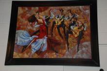 Romantic Couple Dancing Oil on Canvas, Framed