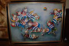 Oil Painting on Canvas of Boys Playing Soccer