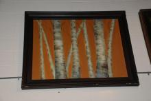 Birch Tree Oil Painting on Canvas, Framed and Signed