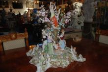 Large Porcelain Figurine with Tree and People