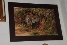 Oil on Canvas, Leopard, Signed, Framed