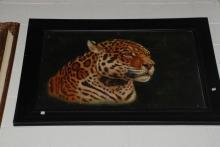 Oil on Canvas, Cheetah Head, Signed, Framed