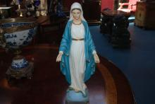 Woman in White and Blue Dress Statue by Vittoria Collection from Italy