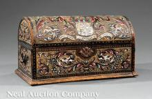 Polychromed and Carved Wood Leather Valuables Box