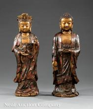 Chinese Cloisonne, Patinated Bronze Figures