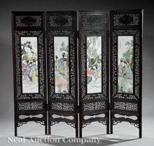 Chinese Famille Rose Porcelain-Inset Screen