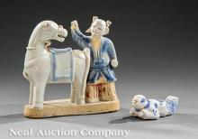 Chinese Blue White & Biscuit Glazed Figural Group