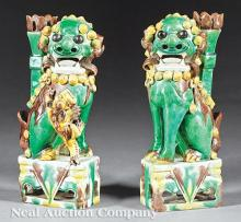 Chinese Biscuit Glazed Porcelain Buddhist Lions