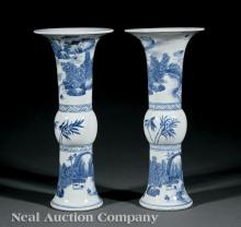 Chinese Blue and White Porcelain Beaker Vases