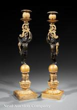 Gilt and Patinated Bronze Figural Candlesticks