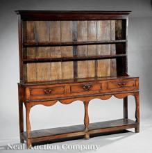 English Carved Walnut and Oak Welsh Dresser