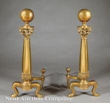 American Beaux Arts Gilt Bronze, Brass Andirons