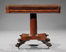 Carved Mahogany Games Table, attr. Quervelle