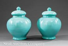 Chinese Turquoise Blue Glass Covered Jars