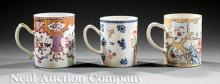Three Chinese Export Porcelain Mugs