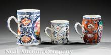 Three Chinese Export Famille Rose Porcelain Mugs