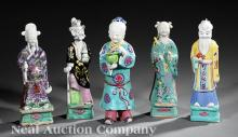 Five Chinese Famille Rose Porcelain Figures