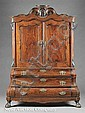 An Antique Dutch Figured Walnut Linen Press, late