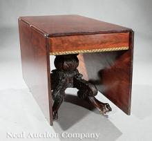 Gilt-Stenciled, Carved Mahogany Drop-Leaf Table
