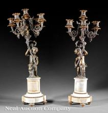 Bronze and Marble Figural Candelabra