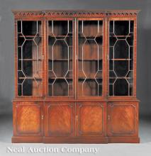 Carved Mahogany Breakfront Bookcase