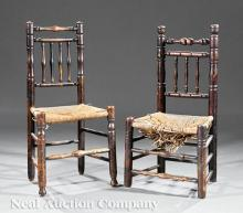 Near Pair of English Oak Side Chairs